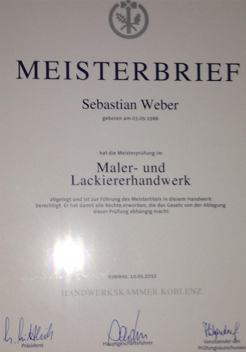 Meisterbrief Weber